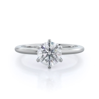 Classic six prong solitaire diamond engagement ring: 14 karat white gold