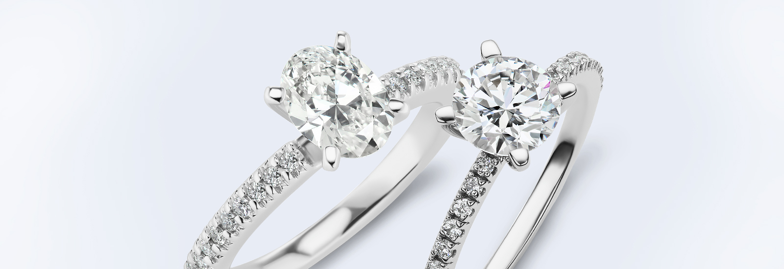 various high quality sparkling diamond engagement rings on a surface for buying