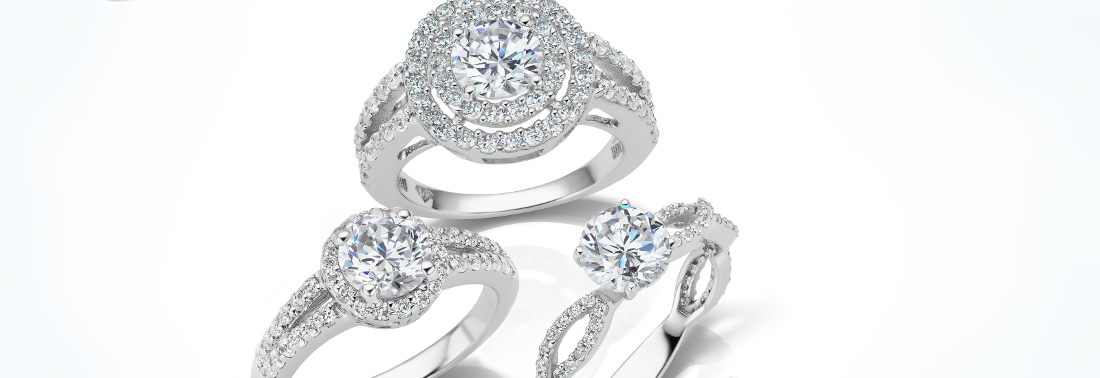 all the ring collections represented by diamond engagement rings including classic, solitaire, contemporary, halo and three stone