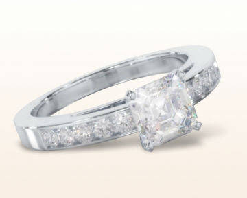 asscher cut engagement rings Cathedral Channel Set Diamond