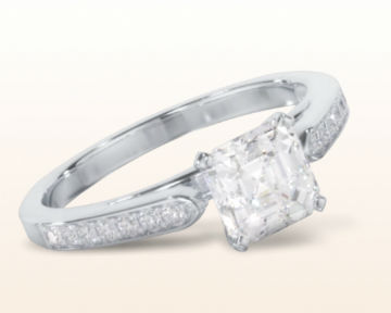asscher cut engagement rings tapered cathedral diamond