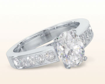 oval engagement rings Channel Set Cathedral Diamond