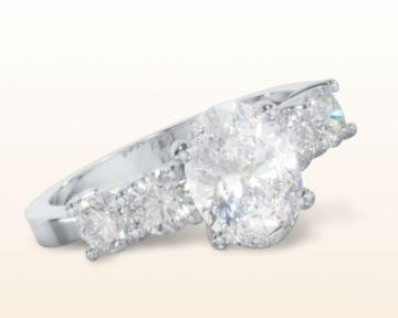 oval engagement rings five stone diamond