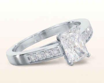 radiant cut engagement rings Cathedral Pave Diamond