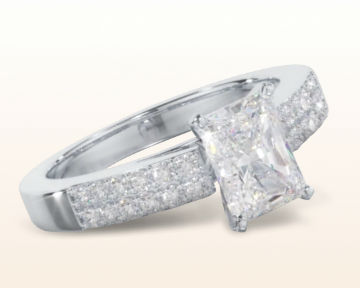 radiant cut engagement rings Double Row Cathedral Diamond
