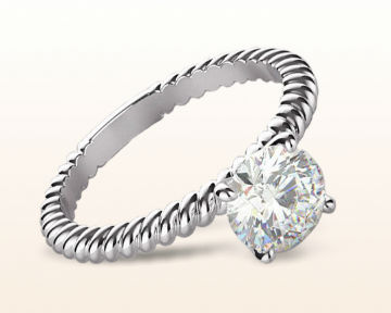 twisting engagement rings Braided Solitaire Diamond