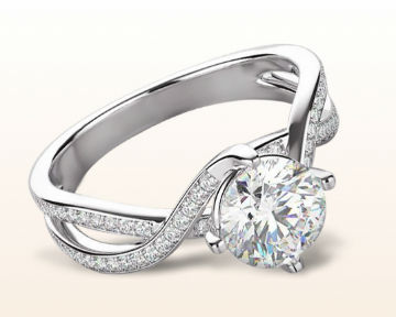 Twisting engagement rings east west