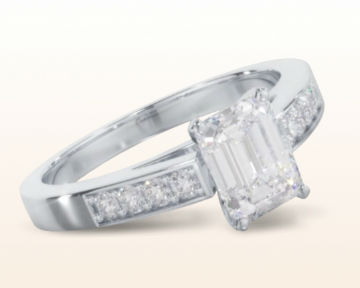 emerald cut engagement rings Cathedral Pave Diamond