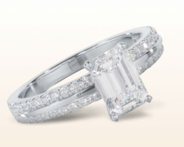 emerald cut engagement rings Pave Edged Diamond