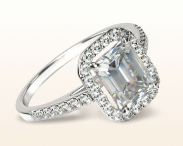Emerald cut engagement rings Pave Halo Diamond