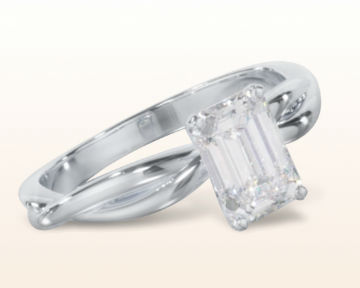 emerald cut engagement rings Twisting Solitaire Diamond