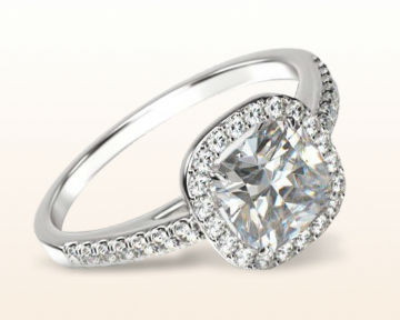 Cushion cut engagement rings Cathedral Halo Diamond