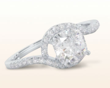 cushion cut engagement rings Tapered Halo Diamond