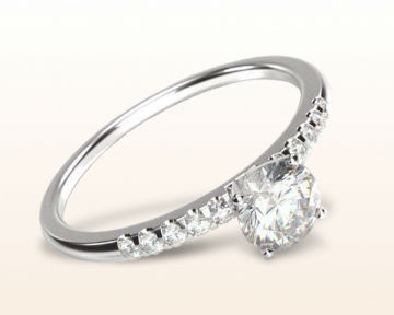 dainty engagement rings Traditional Pave Diamond