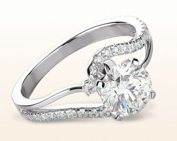 unique engagement rings two tone bypass diamond