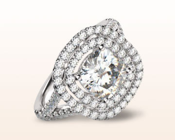 square halo engagement rings Double Cathedral Diamond