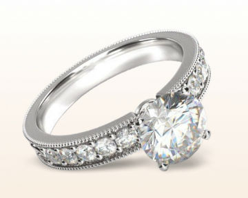 Antique Style Engagement Rings Floral Diamond