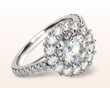 Nature Inspired Engagement Rings Floating Halo Pave Diamond