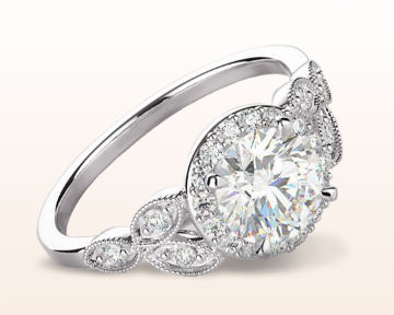 Nature Inspired Engagement Rings Vintage Halo Diamond