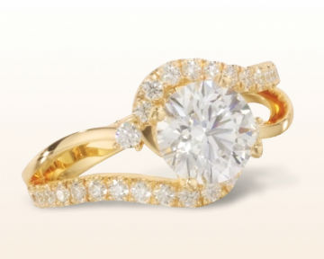 Two Tone engagement rings Bypass Diamond