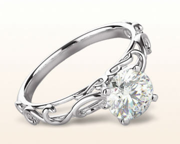 victorian engagement rings Scroll Solitaire Diamond