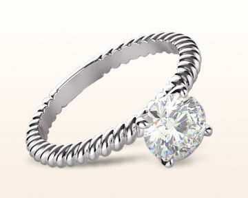 minimalist engagement rings Braided Solitaire Diamond