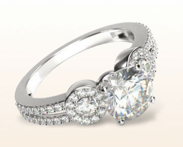 three stone engagement rings accent halo