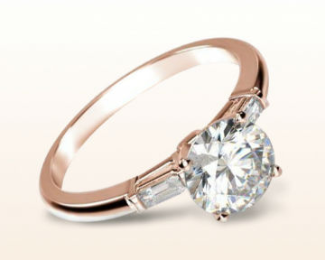 three stone engagement rings baguette diamond