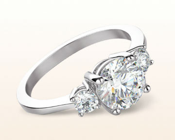 three stone engagement rings petite