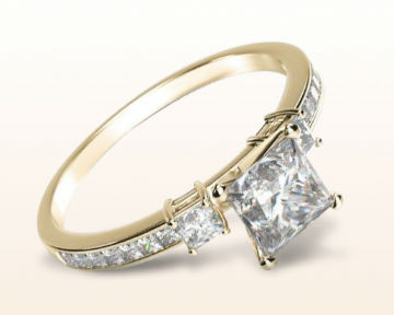 three stone engagement rings princess accent