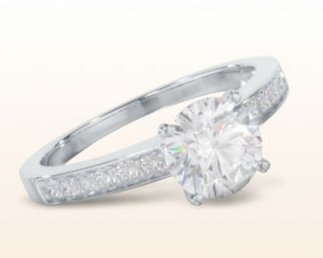 thin band engagement rings Graduated Pave Diamond