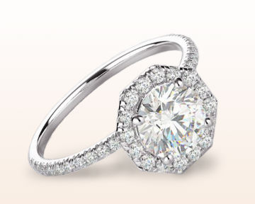 pretty engagement rings Octagon Halo Diamond