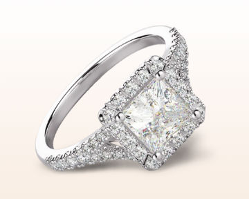 pretty engagement rings split shank princess halo