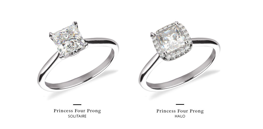 Princess Cut Halo Engagement Rings with without halo