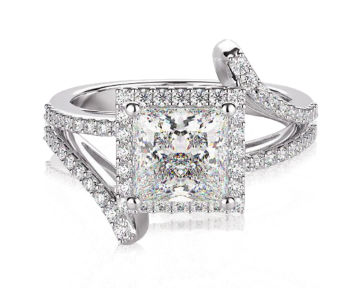 Princess Cut Halo Engagement Rings Open Twist