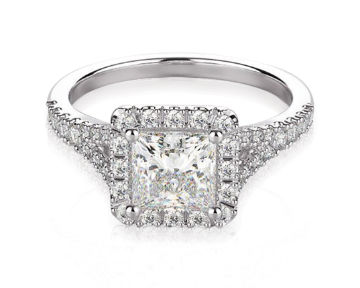 Princess Cut Halo Engagement Rings Split Shank