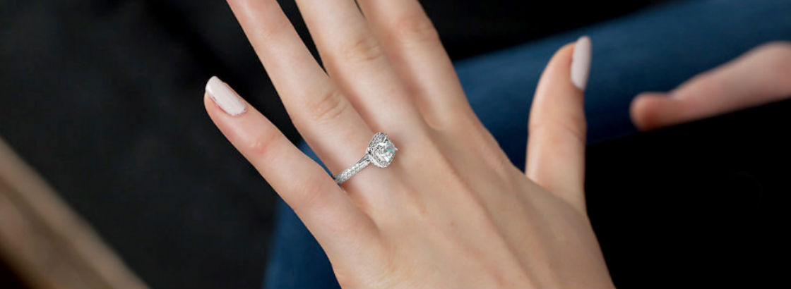 Princess Cut Halo Engagament Rings woman's hand