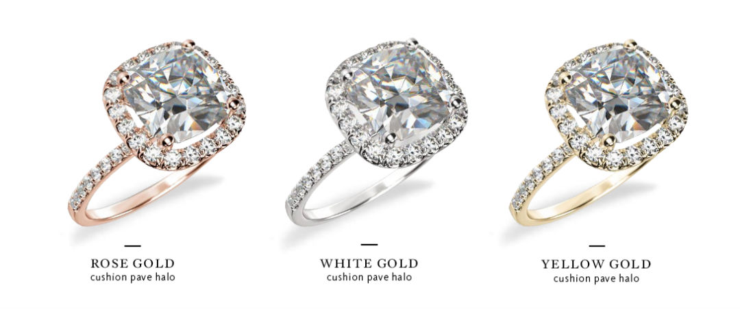 cushion cut halo engagement rings in three colors