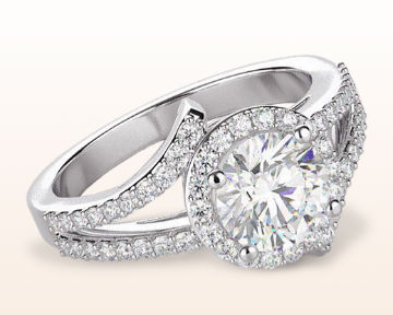round halo engagement rings opening twist