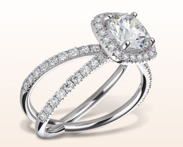 round halo engagement rings split shank and pave