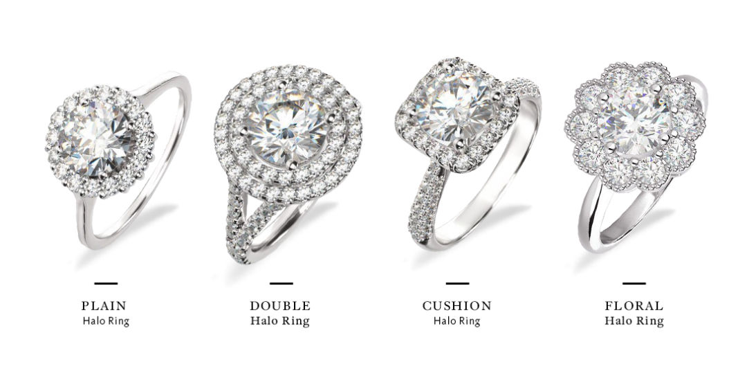 round halo engagement rings different styles