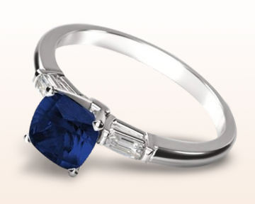 sapphire and diamond engagement rings cushion three stone baguette