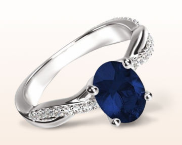 sapphire and diamond engagement rings oval twisting vine