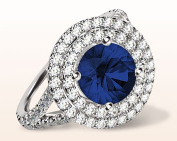 sapphire and diamond engagement rings round double floating halo cathedral