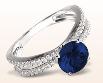 sapphire and diamond engagement rings round split shank pave