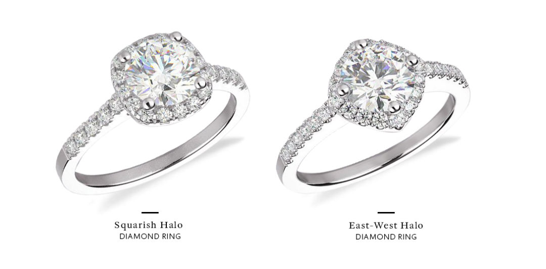 east west engagement rings