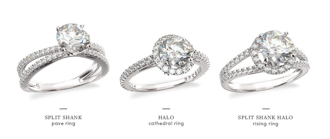 split shank halo engagement rings comparison styles