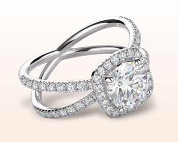 split shank halo engagement rings pave