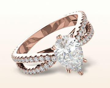 rose gold pear shaped engagement rings cathedral split shank