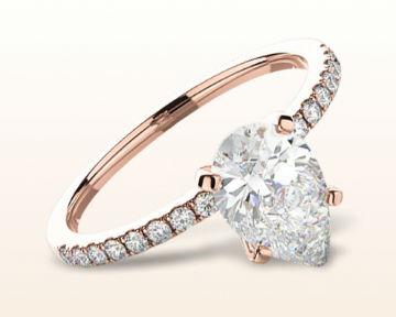 rose gold pear shaped engagement rings classic pave
